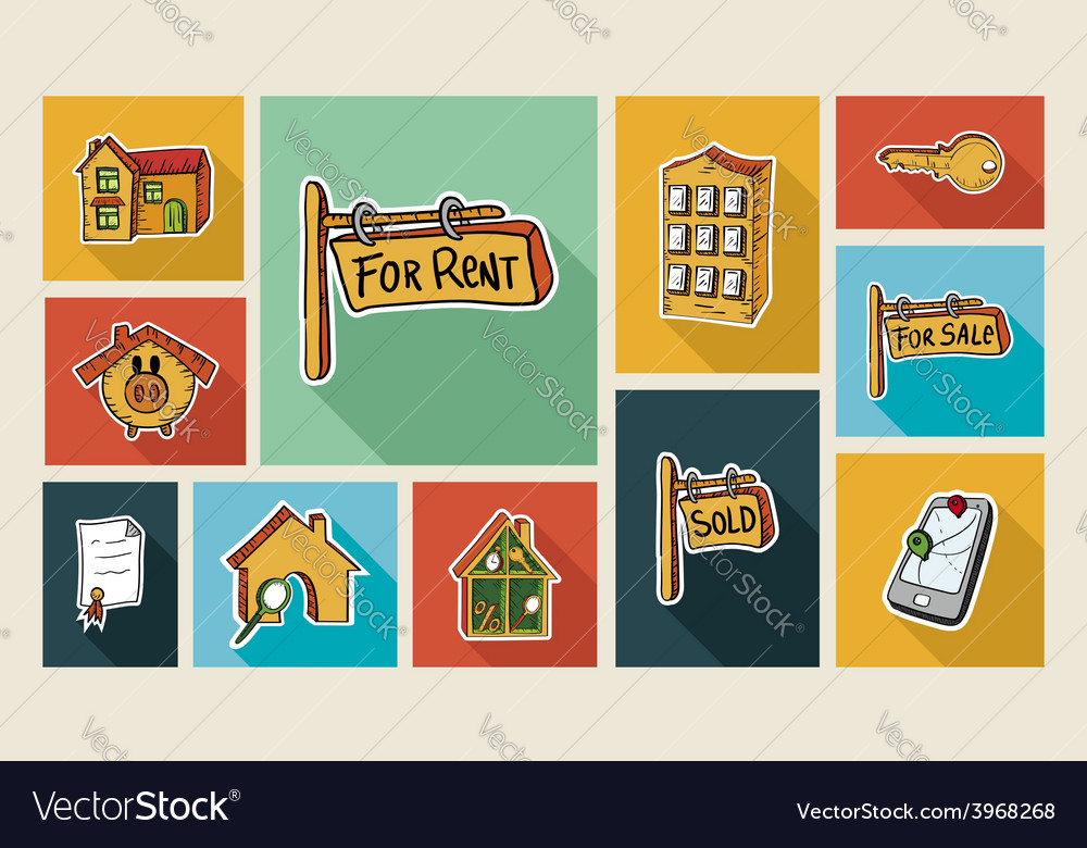 Real estate sketch style flat icon set vector | Price: 1 Credit (USD $1)