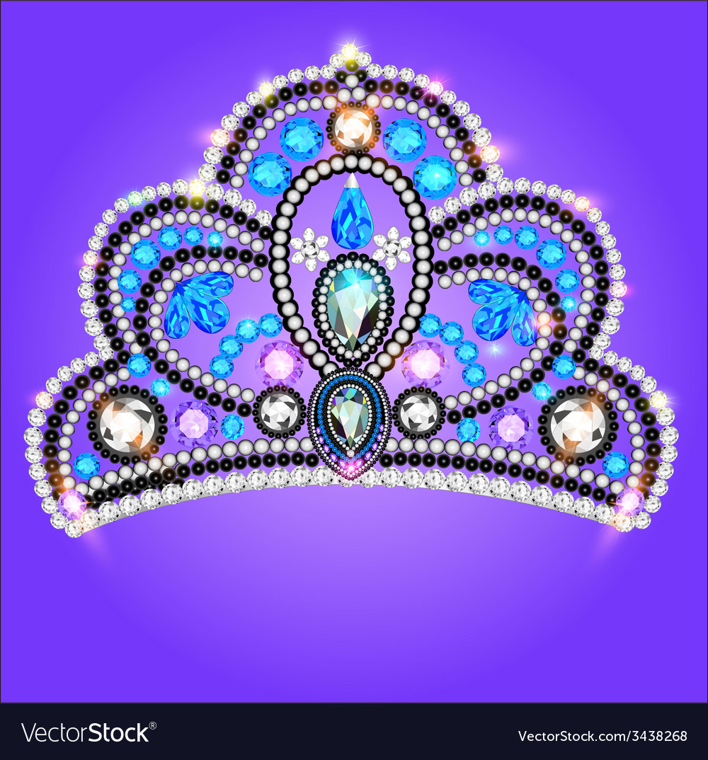 Tiara crown womens wedding with a blue vector | Price: 1 Credit (USD $1)