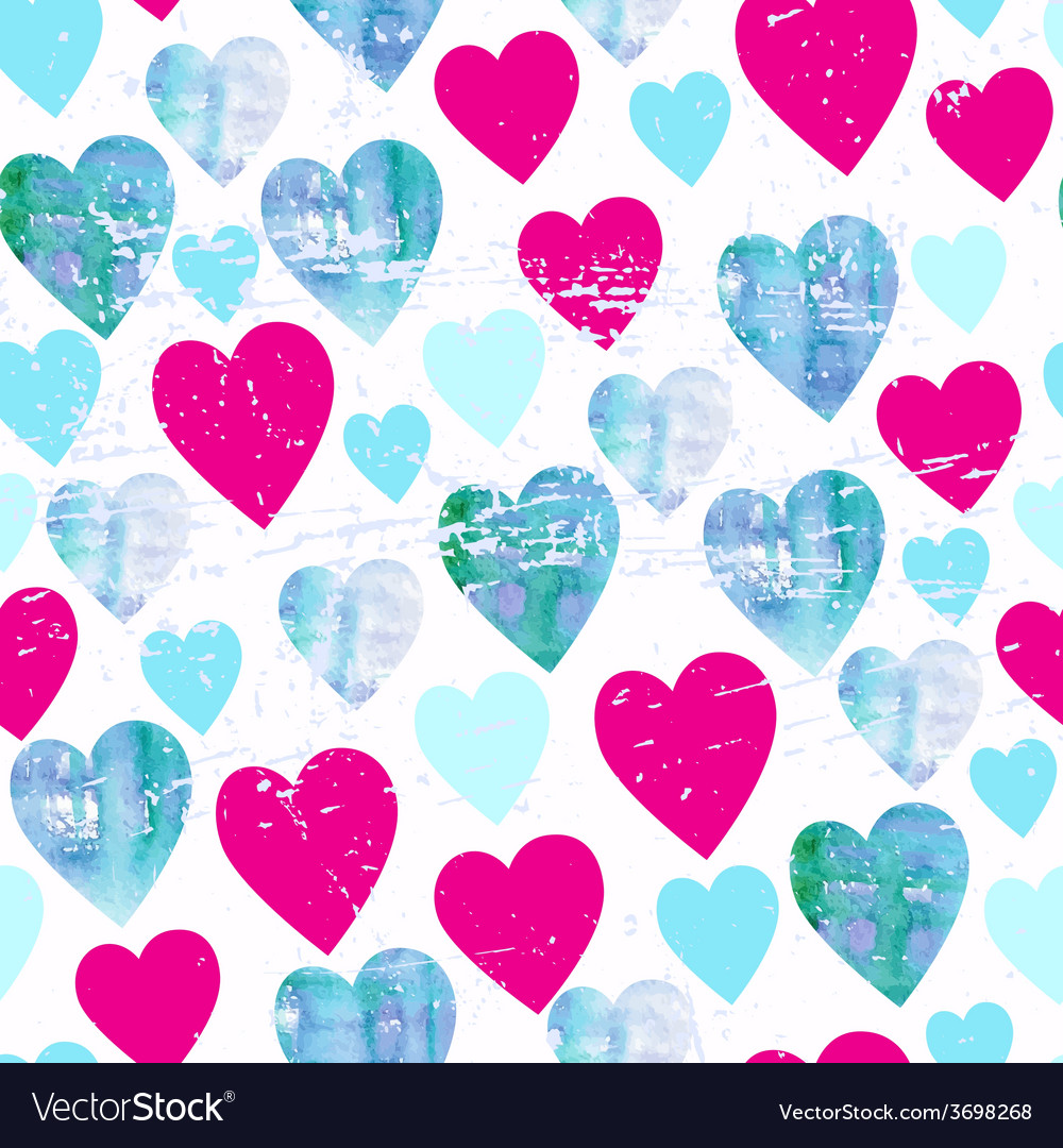 Watercolor hearts seamless pattern vector | Price: 1 Credit (USD $1)