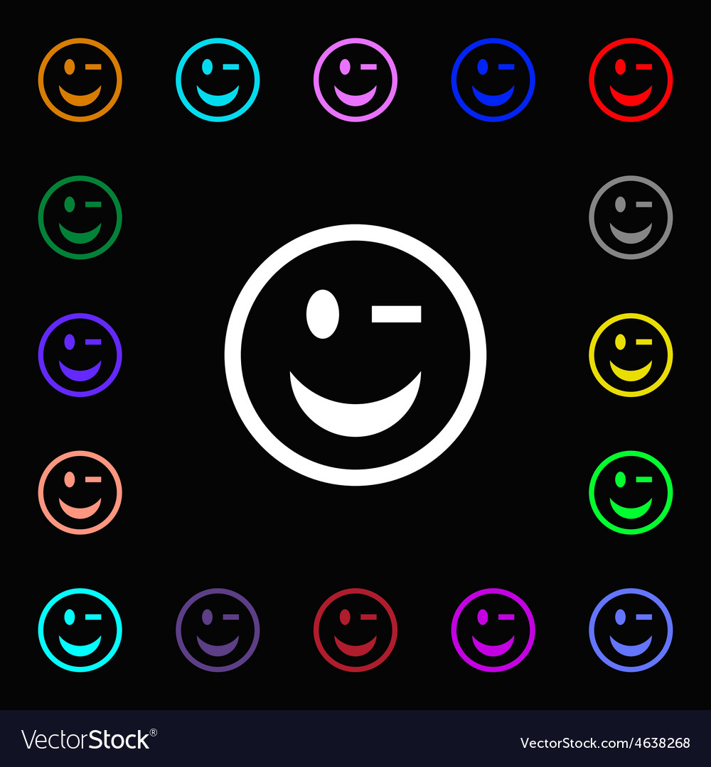 Winking face icon sign lots of colorful symbols vector | Price: 1 Credit (USD $1)
