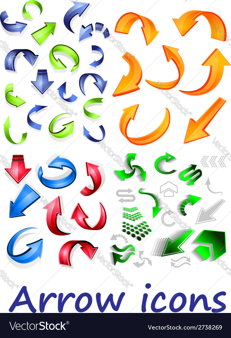 Arrow icons set vector | Price: 1 Credit (USD $1)