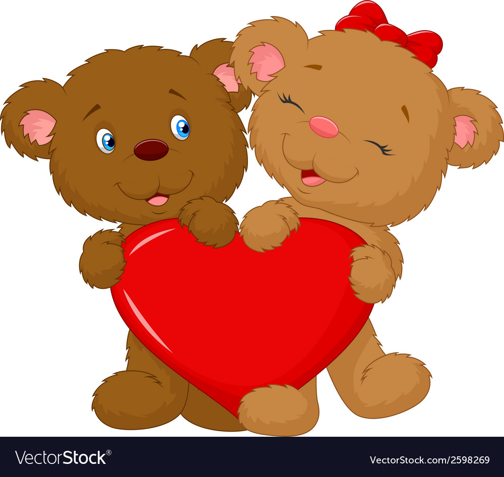 Bear couple cartoon holding red heart shape vector | Price: 1 Credit (USD $1)