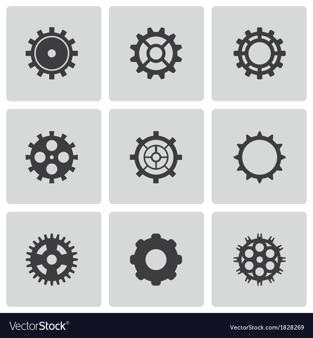 Black gear icons set vector | Price: 1 Credit (USD $1)