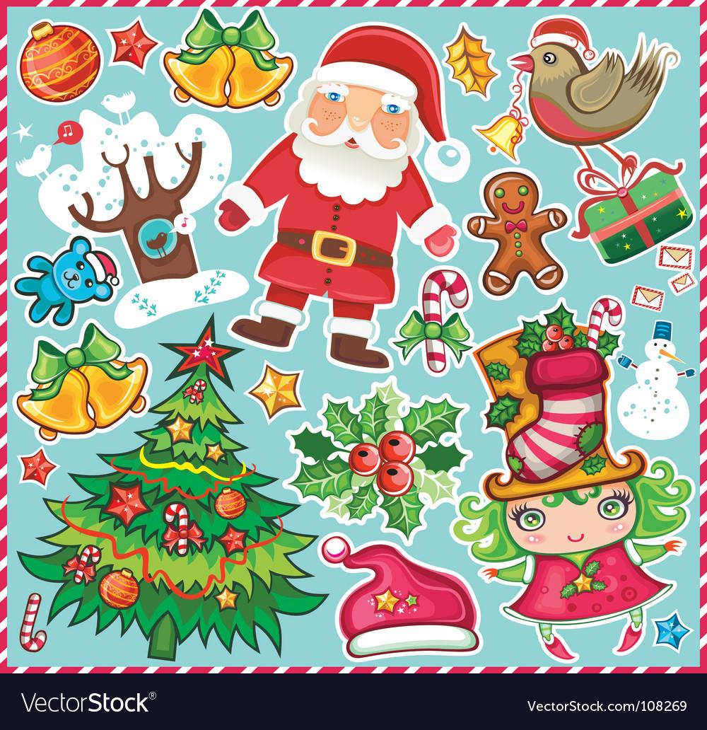 Christmas symbols set vector | Price: 3 Credit (USD $3)