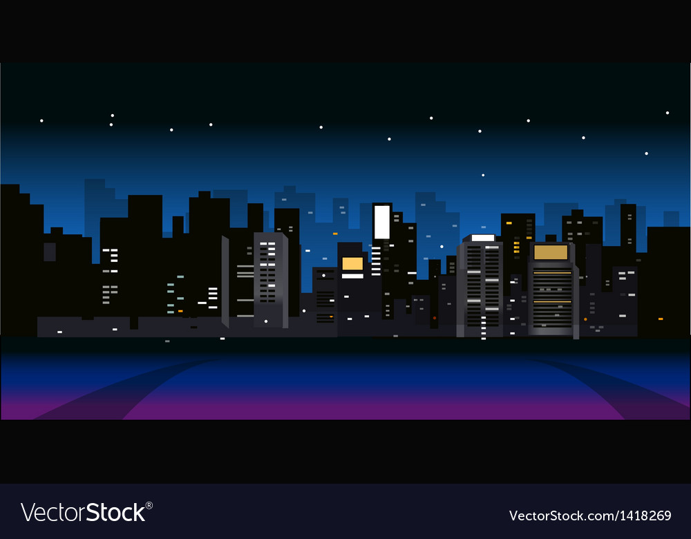 City skyline at night vector | Price: 1 Credit (USD $1)