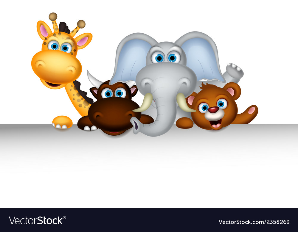 Cute wild animal cartoon posing with blank sign vector | Price: 1 Credit (USD $1)