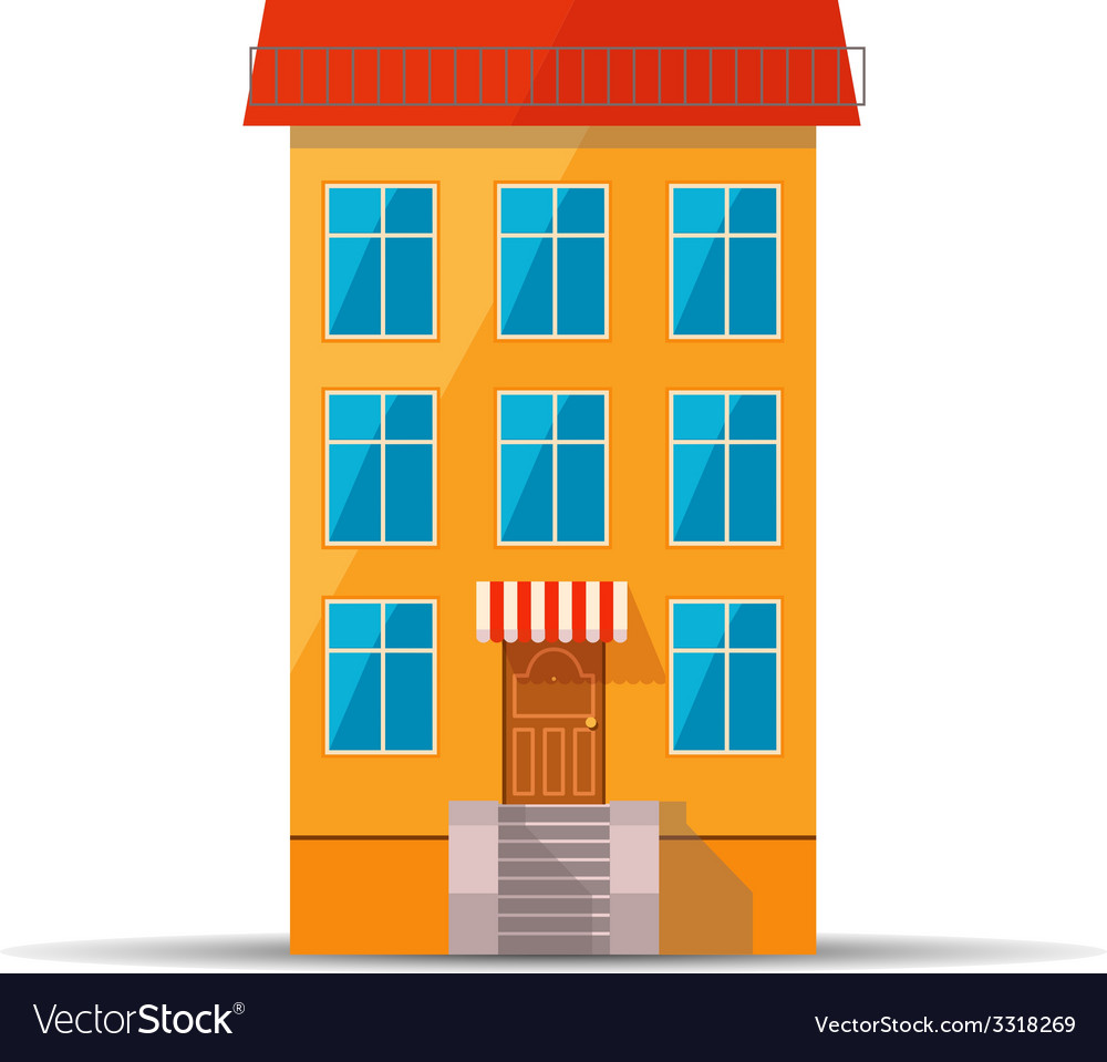 Flat colourful icon of retro house with red roof vector | Price: 1 Credit (USD $1)