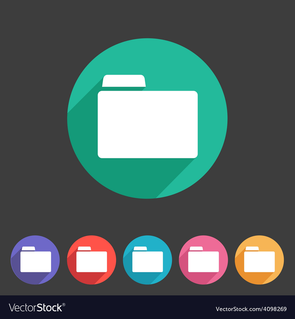 Folder attachment badge flat icon sign set symbol vector