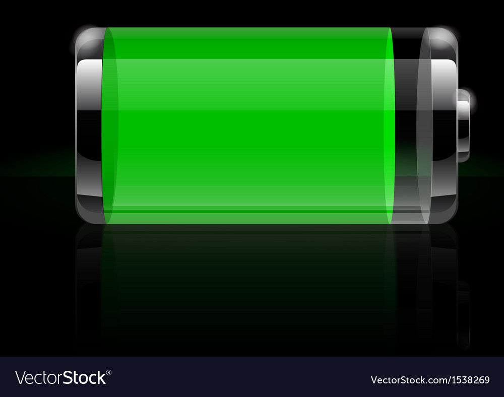Glossy transparent battery icon green vector | Price: 3 Credit (USD $3)
