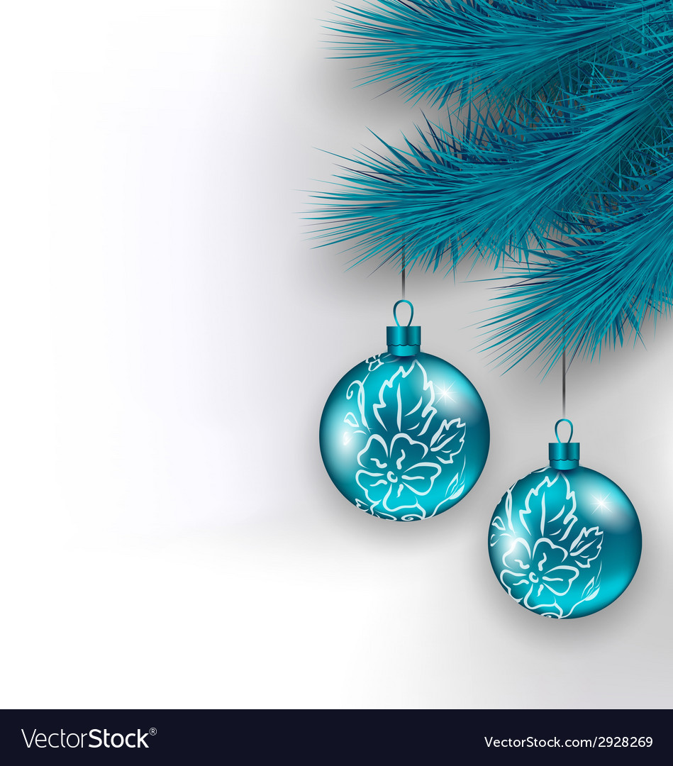 Hanging christmas glass balls on fir twigs vector | Price: 1 Credit (USD $1)