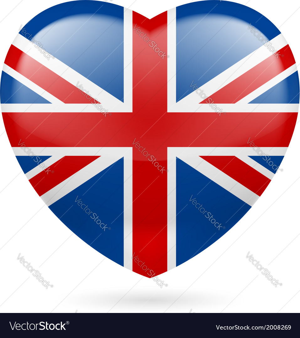 Heart icon of united kingdom vector | Price: 1 Credit (USD $1)