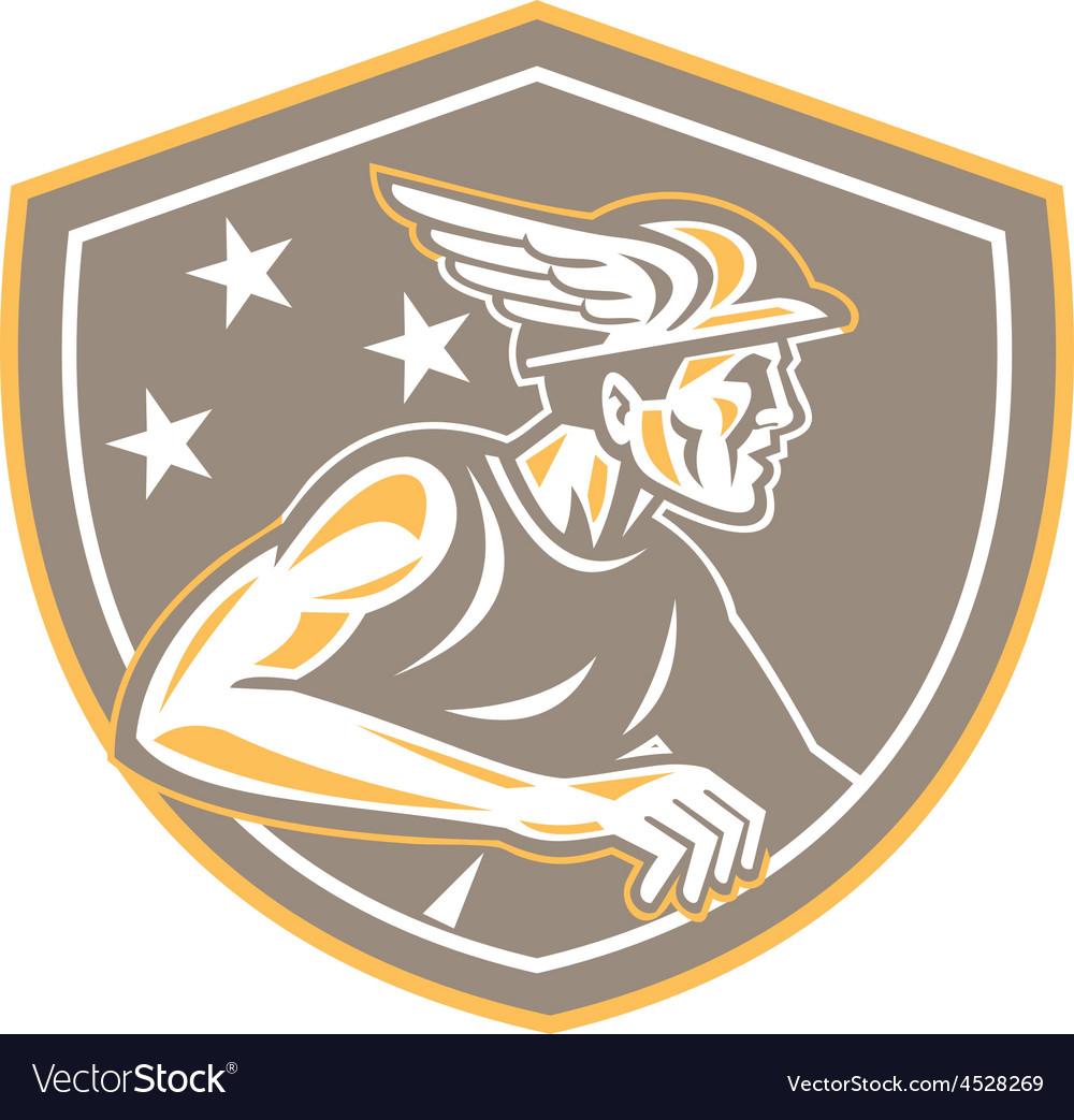 Mercury looking side shield retro vector   Price: 1 Credit (USD $1)