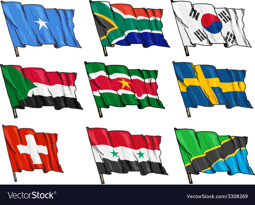 Set of national flags vector | Price: 1 Credit (USD $1)