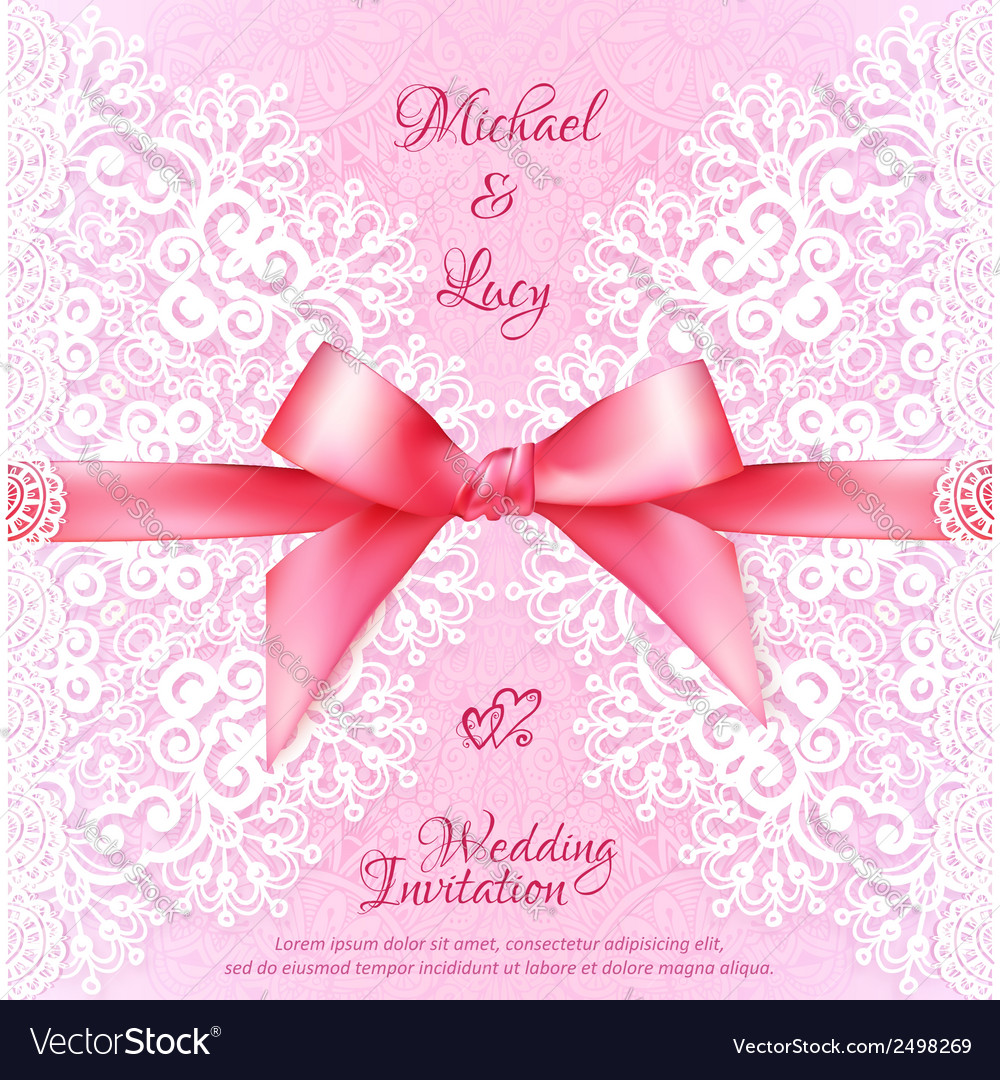 Vintage wedding card template with pink bow vector | Price: 1 Credit (USD $1)