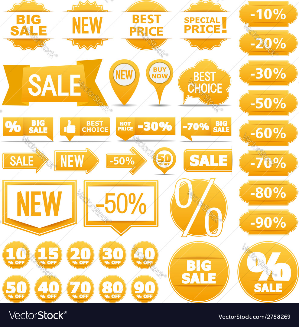 Yellow sale banners ribbons labels vector | Price: 1 Credit (USD $1)
