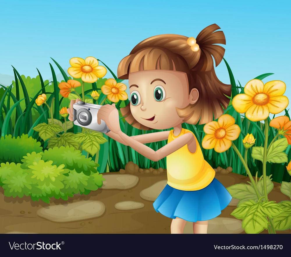 A girl taking photos at the garden vector | Price: 1 Credit (USD $1)