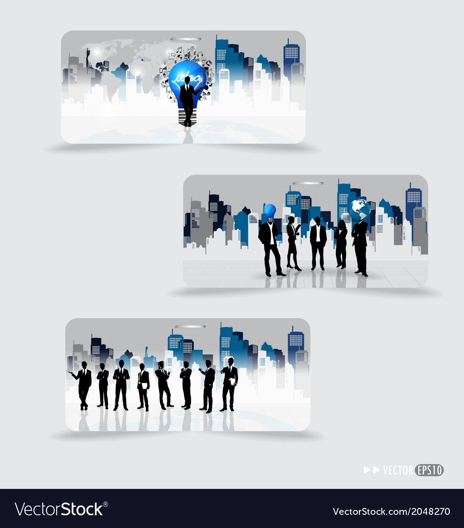 Business people silhouettes with building vector | Price: 1 Credit (USD $1)