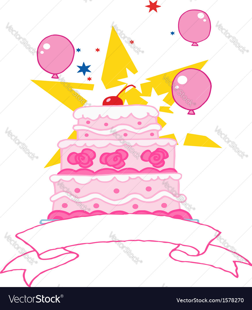 Cartoon birthday cake vector | Price: 1 Credit (USD $1)