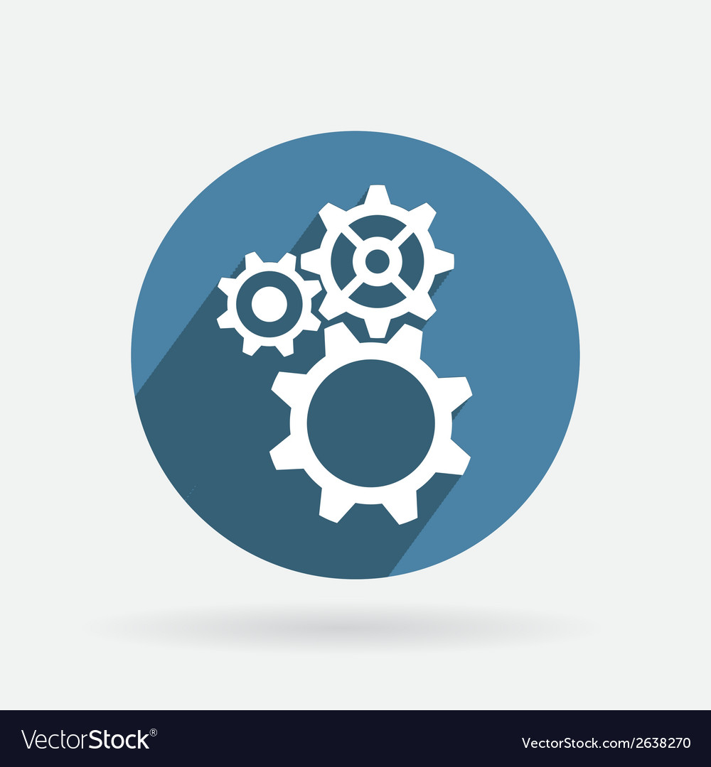 Circle blue icon symbol settings cogwheel vector | Price: 1 Credit (USD $1)