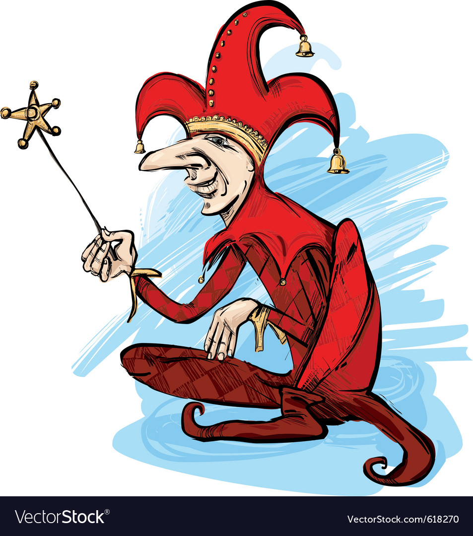 Court jester in red costume vector | Price: 1 Credit (USD $1)