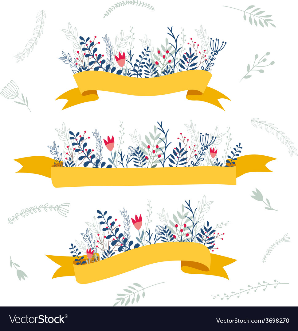 Decorative floral composition with ribbon for text vector | Price: 1 Credit (USD $1)