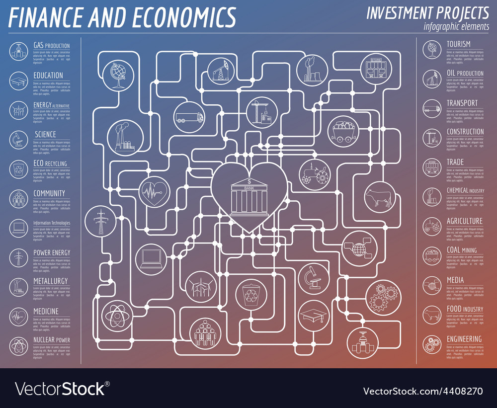 Economics and finance infographic investment vector   Price: 1 Credit (USD $1)
