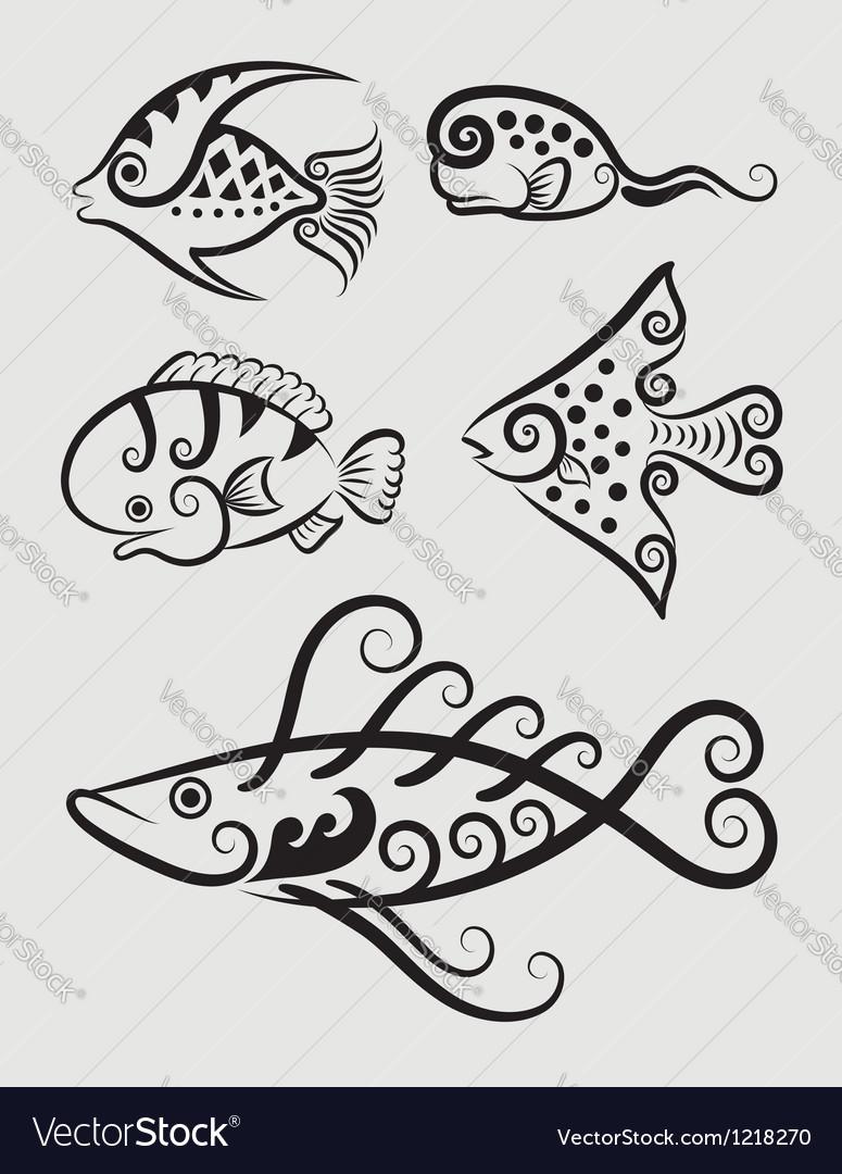 Fish symbol vector | Price: 1 Credit (USD $1)