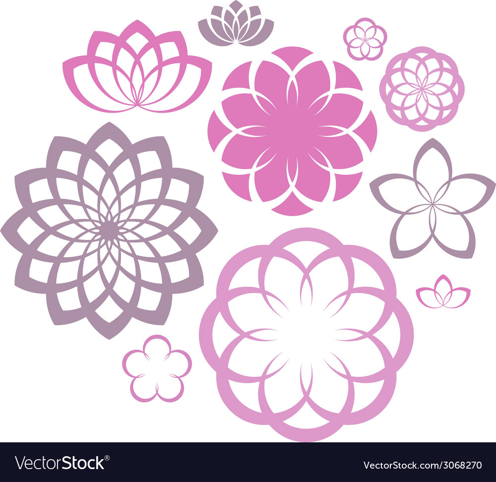 Flower icon set vector | Price: 1 Credit (USD $1)