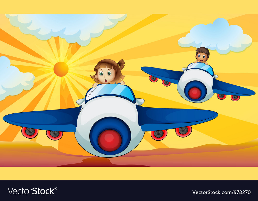 Kids flying aeroplanes vector | Price: 3 Credit (USD $3)
