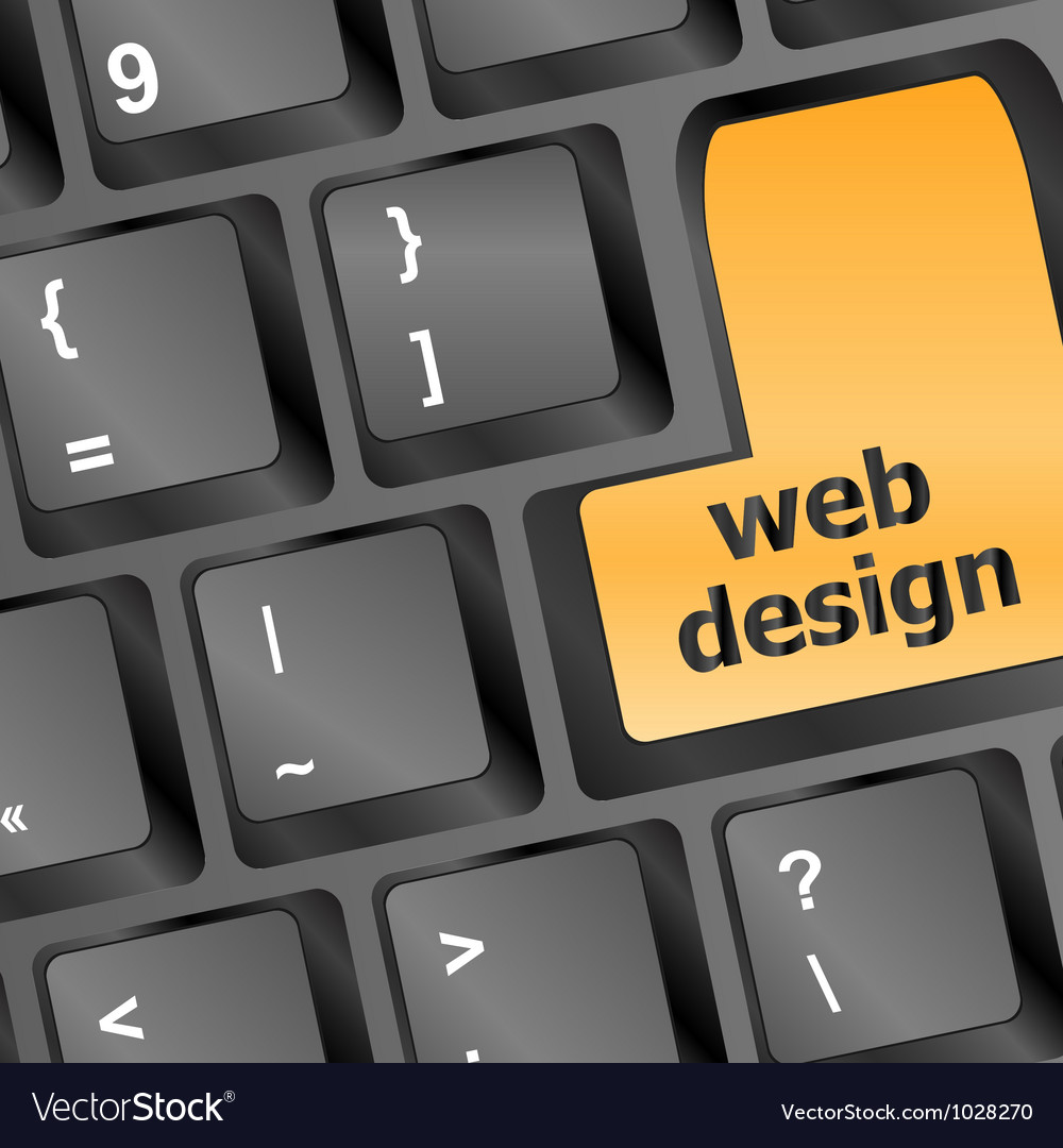 Web design text on a button keyboard vector | Price: 1 Credit (USD $1)