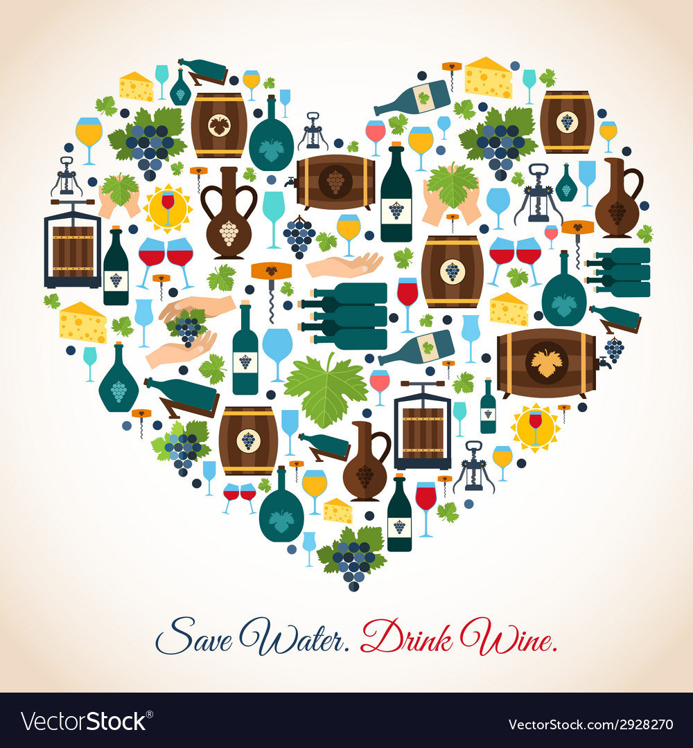 Wine heart icons vector | Price: 1 Credit (USD $1)