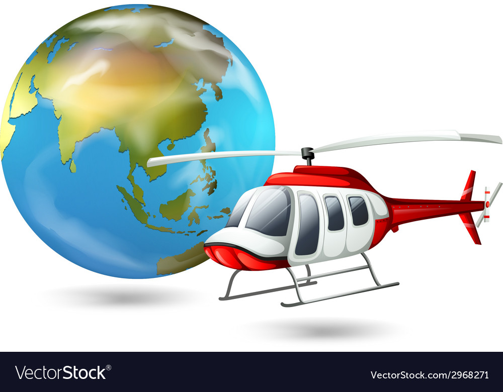 A helicopter and a globe vector | Price: 1 Credit (USD $1)