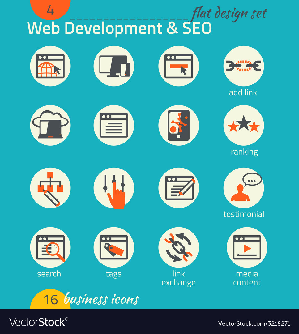 Business icon set software and web development seo vector   Price: 1 Credit (USD $1)