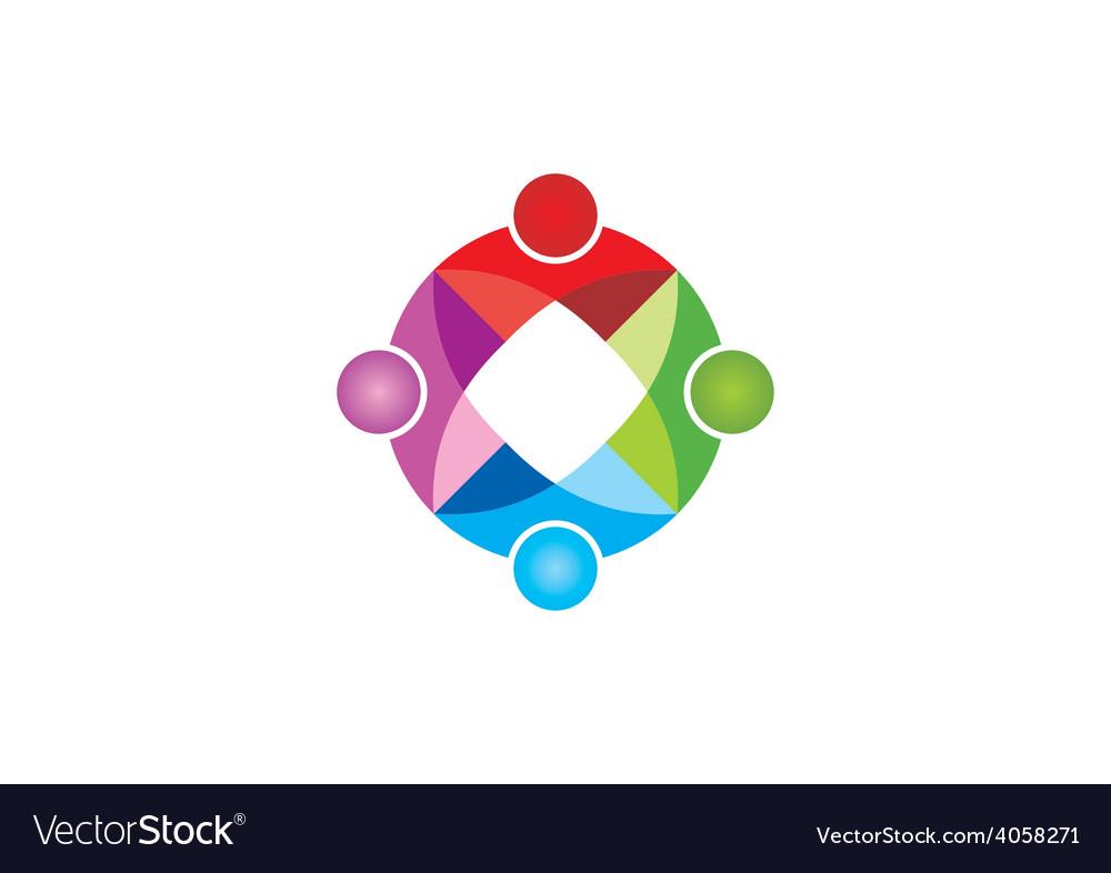 Circular geometry color teamwork logo vector   Price: 1 Credit (USD $1)