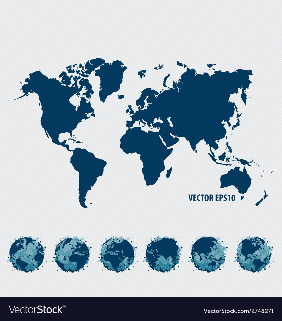 Collection of world map and modern globe vector | Price: 1 Credit (USD $1)