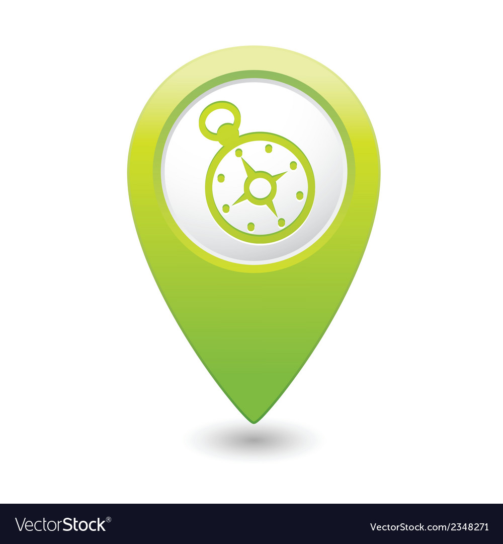 Compass icon on map pointer green vector   Price: 1 Credit (USD $1)