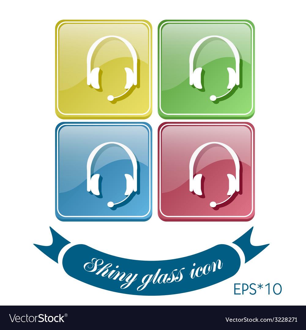 Customer support headphone icon vector   Price: 1 Credit (USD $1)