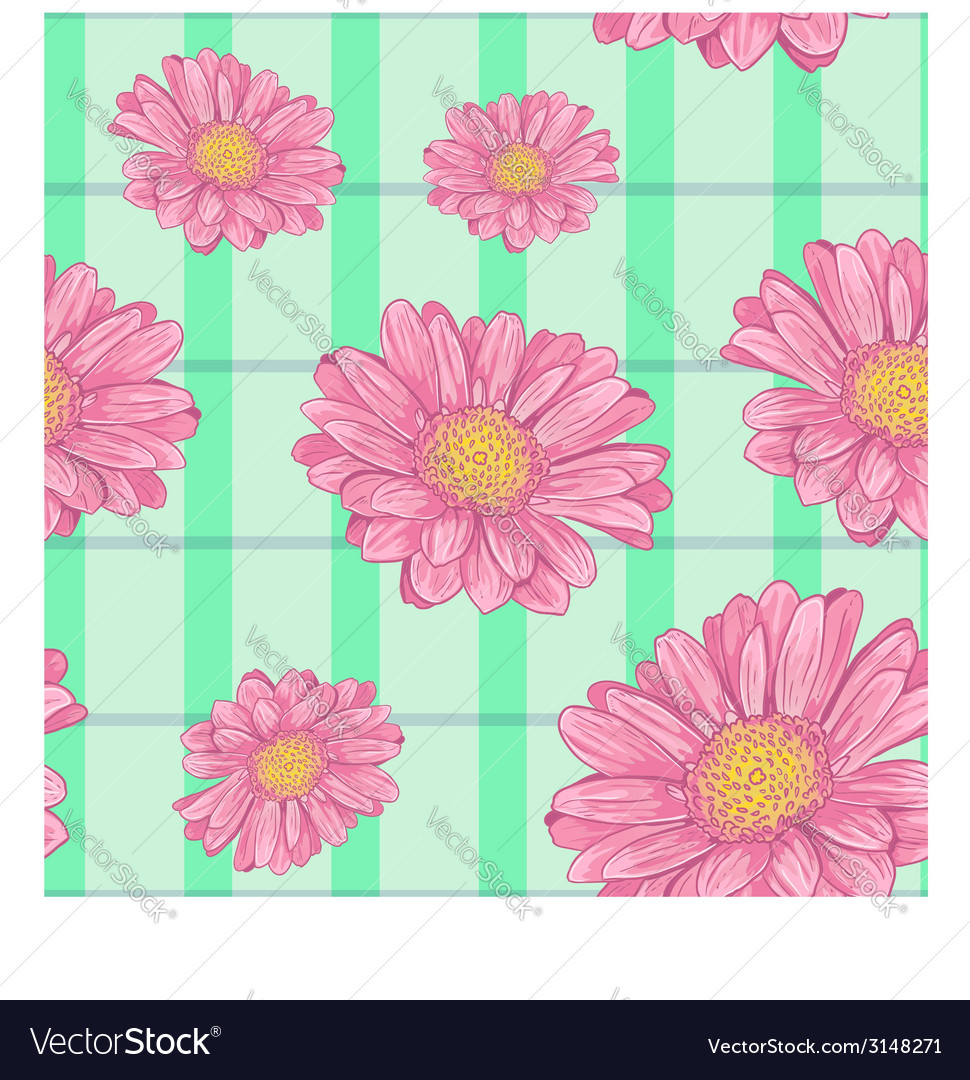 Floral seamless background with pink daisy eps10 vector | Price: 1 Credit (USD $1)