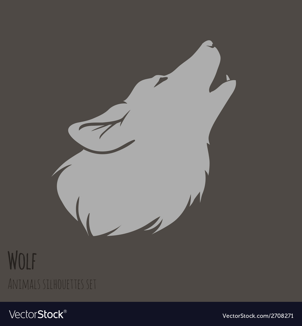 Grey wolf silhouette vector | Price: 1 Credit (USD $1)