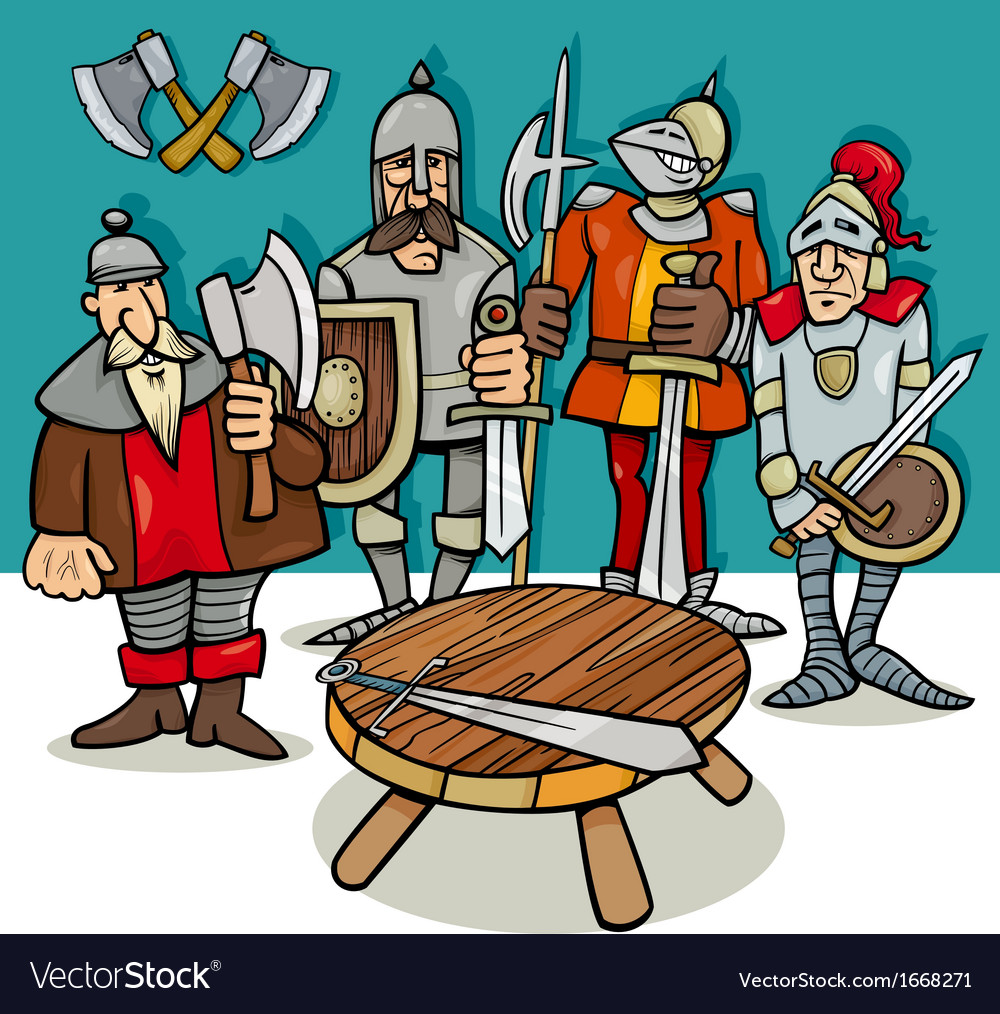 Knights of the round table cartoon vector | Price: 1 Credit (USD $1)