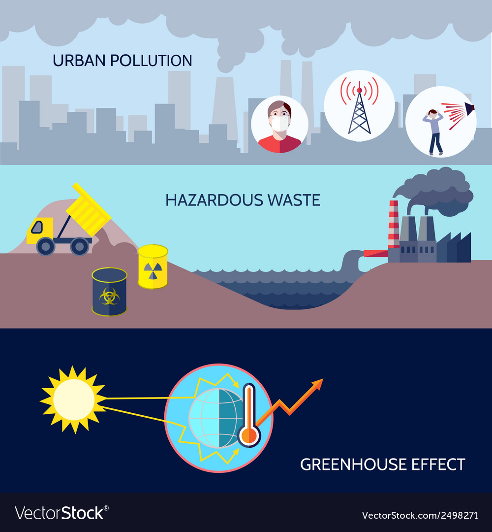 Pollution icons flat set vector   Price: 1 Credit (USD $1)