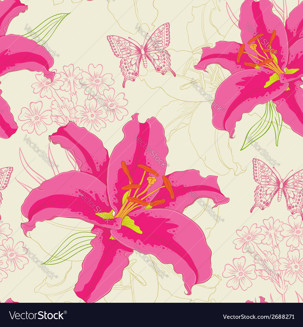Seamless pattern with red flowers vector | Price: 1 Credit (USD $1)