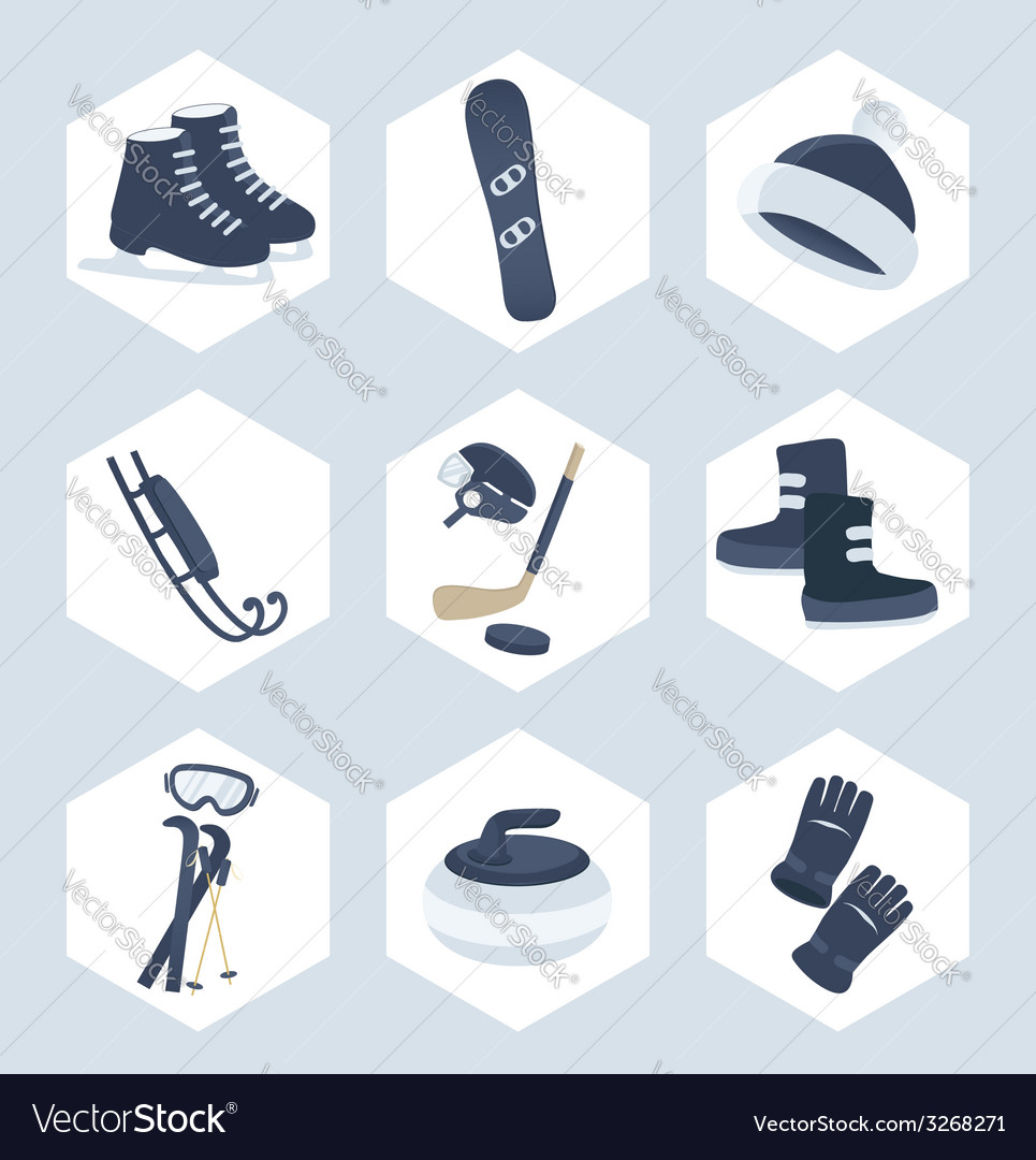 Set of winter sport icons vector | Price: 1 Credit (USD $1)