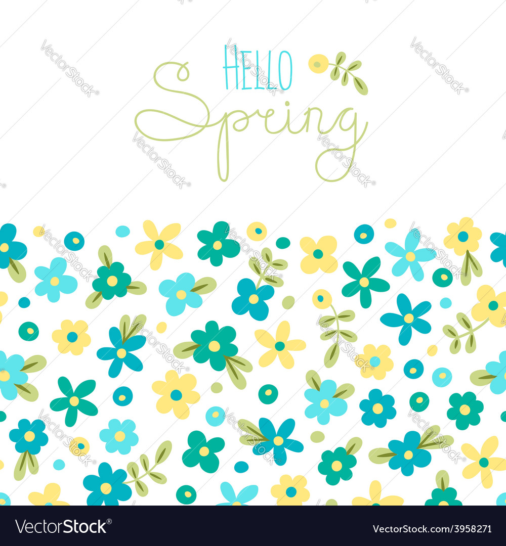 Sizon card hello spring with cute flowers vector   Price: 1 Credit (USD $1)