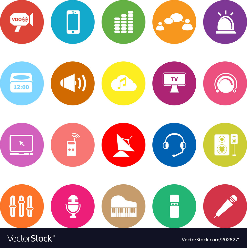 Sound flat icons on white background vector | Price: 1 Credit (USD $1)