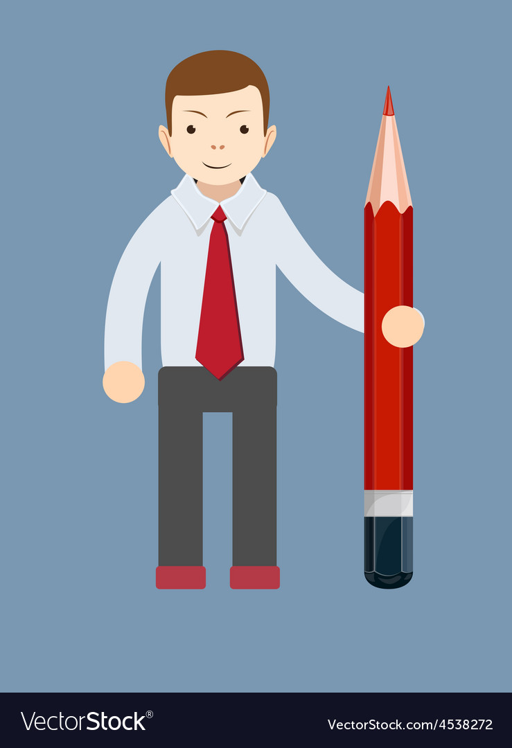 Businessman-teacher with a pencil to correct and vector | Price: 1 Credit (USD $1)