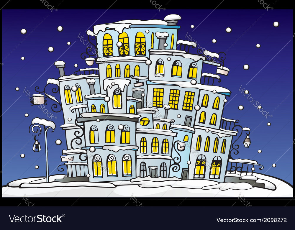 Cartoon night city coated by snow vector | Price: 1 Credit (USD $1)