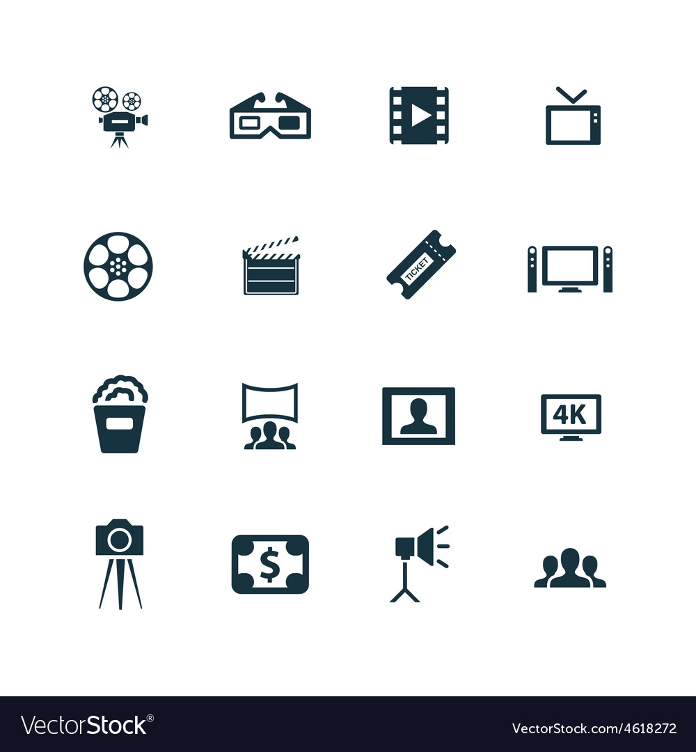 Cinema icons set vector   Price: 1 Credit (USD $1)