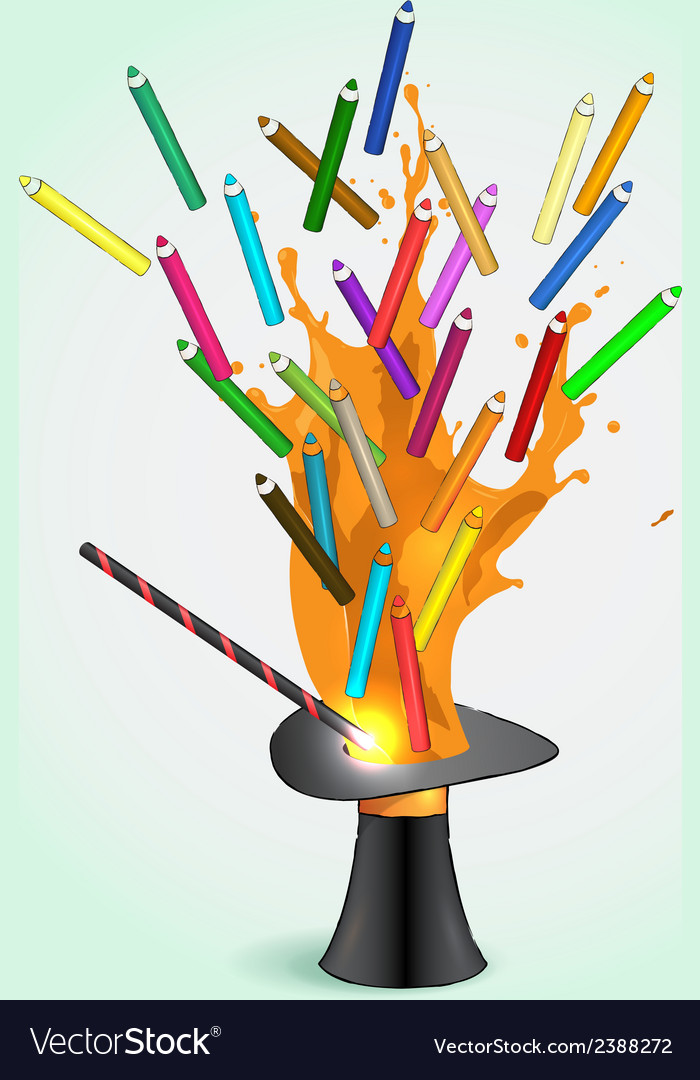 Colored pencils flying from magic hat vector | Price: 1 Credit (USD $1)