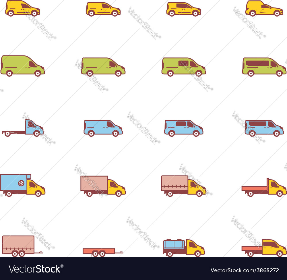 Commercial transport icons vector | Price: 1 Credit (USD $1)